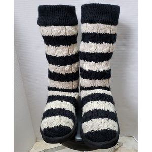 UGG TALL BLACK&WHITE STRIPED CABLE KNIT BOOTS SZ.6